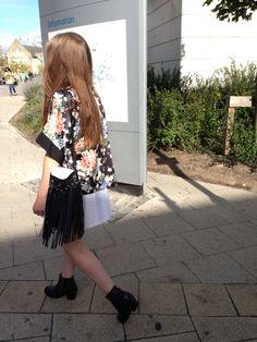 Kimono tassels pleats patterns boots black floral studs