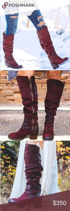 "Leather Red Wine Rare Knee High Western Boots Crafted with an upper of hand-distressed leather, Freebird by Steven tall riding boots have intriguing leather applique detailing throughout. 2.5"" heel height / 19"" shaft height / 13.75""shaft circumference Brand: Freebird by Steven Fiber Content: leather upper material, leather lining, rubber outsole  SIZE & FIT Fit is true to size. Freebird by Steven Shoes Over the Knee Boots"