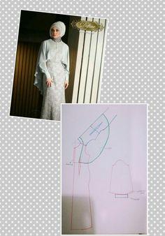 Lace cape dress for muslimah Dress Brukat, Batik Dress, Cape Dress, Frock Patterns, Dress Sewing Patterns, Clothing Patterns, Abaya Pattern, Cape Pattern, Sewing Coat