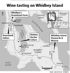 Wine tasting map for Whidbey Island, WA