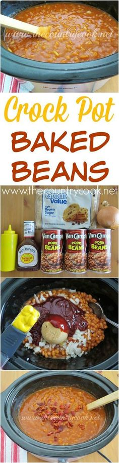 Crock Pot Baked Beans recipe from The Country Cook. This cooks itself and the flavor gets better the longer it cooks!