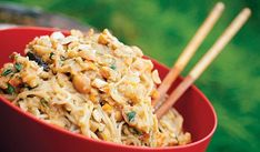 Spicy Peanut noodles recipe. See also Trailside Summer Rolls same site. The key to eating gourmet camping meals is preparing as much as you can at home.