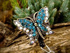 NEW LISTING - Blue Butterfly - Retractable Badge Holder - Rhinestone Badge Reel - Pretty ID Badge Clip - Nurse Gift - BadgeAlley - Lanyard. $15.00, via Etsy.