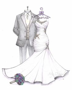 Satin ruched bodice mermaid wedding dress sketch with groom, jeweled bouquet and decorative hanger by Catie Stricker-Howell