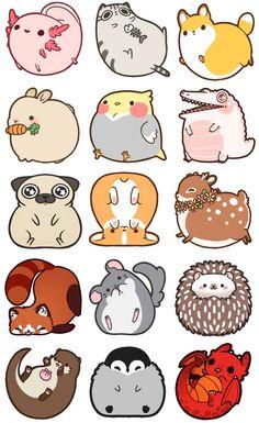 Cute animal drawings kawaii, simple animal drawings, cute cartoon a Easy Animal Drawings, Cute Animal Drawings Kawaii, Cute Cartoon Animals, Easy Drawings, Drawing Animals, Cute Kawaii Animals, Cute Cartoon Drawings, Anime Animals, Adorable Drawings