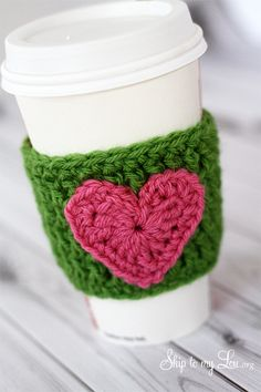 HAPPY Holidays: Handmade Gift Idea: Crochet Heart Coffee Cozy! - Would be easy to make a handful of these for quick Christmas gifts and stocking stuffers.