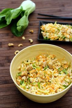 Thai rice salad with chicken, carrot, pak choï and cashews - Amandine Cooking Thai Recipes, Gourmet Recipes, Snack Recipes, Easy Smoothie Recipes, Healthy Smoothie, Healthy Snacks, Healthy Recipes, Green Bean Recipes, Rice Salad