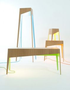 Functional Furniture Of Natural Wood And Bright Finishes