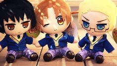Gakuen Hetalia plushies, Germany, Italy, Japan.  Way too cute!