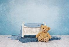 Digital Newborn Backdrop Blue Crib with Teddy Bear. Newborn Photography Props, Photography Backdrops, Newborn Pictures, Baby Photos, Blue Crib, Baby Teddy Bear, Wood Animal, Foto Baby, Digital Backdrops