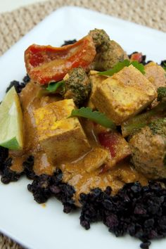 Tofu Vegetable Aji Panca Curry. Coconut milk, used in this recipe, pairs beautifully with the roasted spiciness of aji panca chili paste. #glutenfree #vegan