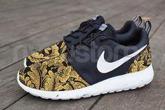 Nike Roshe Run Black White Marble Metallic Gold by NYCustoms, $175.00