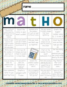 """So, a while back I posted a sample of """"Read-O"""" and """"Write-O"""" that I created for my kiddos over winter break.They looked something like t. Second Grade Math, First Grade Math, Grade 2, Fourth Grade, Math Stations, Math Centers, Math Bingo, Math Math, Math Writing"""