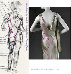 Vionnet thought seams should follow the lines of our musculature. Anatomical drawing by Hugh Laidman, Vionnet gown photo: Metropolitan Museum.