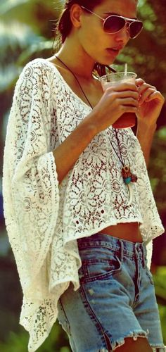 cropped kaftan and denim shorts #festival #style