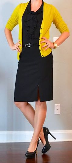 I like this black dress with the pop of color. For my longer torso, I would need a longer cardigan