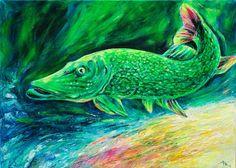 Original Gemälde Hecht Fisch See Bild Meer von Art & Design aus Hamburg auf DaWanda.com
