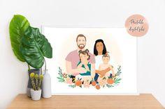 Portrait Illustration, Digital Illustration, Flower Garden Drawing, Self Portrait Drawing, Digital Portrait, Digital Art, Family Drawing, Simple Face, Illustrator Tutorials