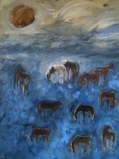 """Horses on Indigo"" painting by karen bezuidenhout 48x60"