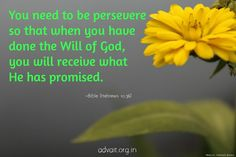 You need to be persevere so that when you have done the will of God, you will receive what he has promised.  ~Bible #ShriPrashant #Advait #bible #jesus #god #gratitude #gift #grace #promise #wishes #blessings  Read at:- prashantadvait.com Watch at:- www.youtube.com/c/ShriPrashant Website:- www.advait.org.in Facebook:- www.facebook.com/prashant.advait LinkedIn:- www.linkedin.com/in/prashantadvait Twitter:- https://twitter.com/Prashant_Advait