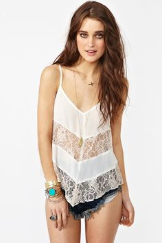Laced Chiffon Tank - Ivory by NastyGal