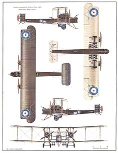 Vickers Vimy Unit: RAF Serial: H651 Standard production Vimy. Rolls-Royce Eagle engines. Aircraft Parts, Ww2 Aircraft, Fighter Aircraft, Military Aircraft, Aircraft Painting, Air Fighter, Aircraft Design, World War One, Model Airplanes