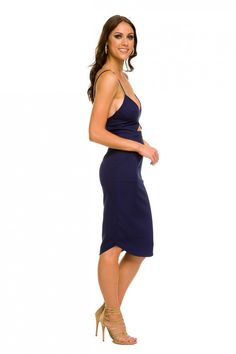 4cb7f78d55ee Marrakesh Midi Dress in Navy Runaway The Label, Fitted Midi Dress,  Marrakesh, Plunging