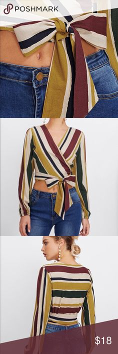 ce4ac7389820 Cropped, side tie blouse offers a fun, flirty style...effortlessly. Looks  great with high waist denim, slacks and shorts. Tops Crop Tops