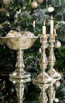 Elegant Antique Mercury Glass Candlesticks and Compote Christmas Arrangement   #Christmas @TheDailyBasics ♥♥♥