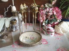 Vintage 4 Piece Dressing Table Manicure Set with Stand Petit Point Ormolu