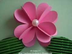 Cards ,Crafts ,Kids Projects: Heart Punch 3 D Flower Tutorial How To Make Paper Flowers, Paper Flowers Diy, Handmade Flowers, Flower Cards, Fabric Flowers, Paper Flower Wreaths, Paper Quilling Flowers, Origami, Paper Punch Art