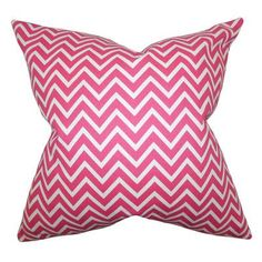 """The Pillow Collection Sula Zigzag Cotton Throw Pillow Color: Candy Pink, Size: 18"""" x 18"""""""