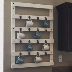 Mug Storage solutions. 49 Modern Mug Storage solutions Ideas. K Cup Storage solution Ikea Lined with Burlap Coffee Cup Storage, Mug Storage, Coffee Mug Display, Coffee Mug Holder, Diy Coffee Table, Wall Storage, Coffee Mugs, Storage Ideas, Storage Solutions