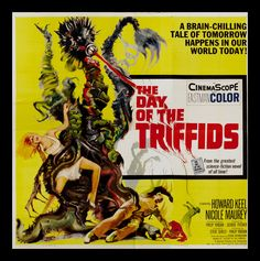 """Movie Poster for the science fiction film """"The Day of the Triffids"""" starring Howard Keel and Janette Scott, directed by Steve Sekely and an uncredited Freddie Francis. Drive In, Tales Of Tomorrow, Mike Newell, Howard Keel, Sam Raimi, Bbc Drama, Classic Sci Fi, Science Fiction Books, Fiction Movies"""