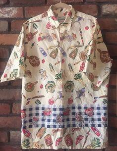 Reyn Spooner RARE Hawaiian Shirt 1960 BBQ Family Picnic Family Chef Food Vintage   eBay