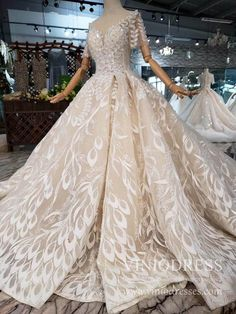 Glitter Beaded Lace Appliques Wedding Dresses Cathedral Train Bridal G – Viniodress Wedding Dress Cathedral Train, Bodice Wedding Dress, Wedding Dress Train, Applique Wedding Dress, Princess Wedding Dresses, Lace Applique, Lace Ball Gowns, Tulle Ball Gown, Ball Dresses