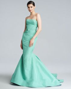 Zac Posen Blue Silk Faille Mermaid Gown
