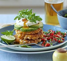 Pan-fry vegetable patties until golden, then top with avocado and an egg - a Mexican-inspired vegetarian breakfast, brunch or dinner