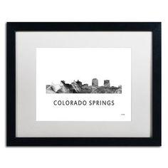 "Trademark Art ""Colorado Springs CO Skyline WB-BW"" by Marlene Watson Framed Graphic Art Size: 1"