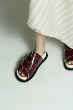 Acne Studios Akua bordeaux Flat slide sandals this is so friggen weird hah. just go w it.