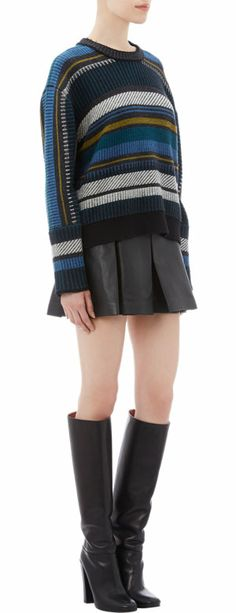 Proenza Schouler Baja-Pattern Mixed-Stitch Sweater at Barneys.com