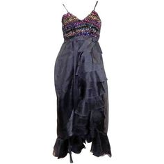 BILL BLASS SEXY BLACK BEADED EVENING GOWN Vintage 1990\'s Size 32 ...