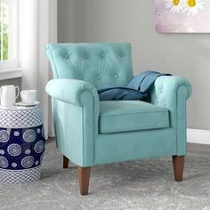 Darby Home Co Bennet Tufted Armchair Velvet Accent Chair, Velvet Armchair, Accent Chairs, Tufted Armchair, Blue Armchair, Living Room Seating, Living Room Chairs, Living Room Furniture, Eames Chairs