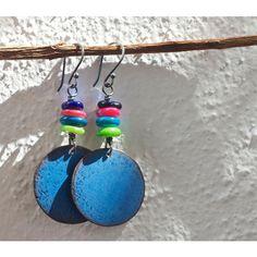 Blue enamel earrings, Enamel jewelry, Copper earrings, Copper enamel,... ($25) ❤ liked on Polyvore featuring jewelry and earrings