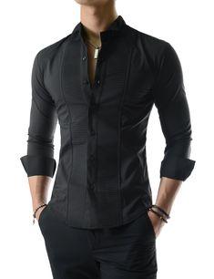 Stretchy Tuxedo Wing Collar Square Pintuck Long Sleeve Dress Shirts – Men's style, accessories, mens fashion trends 2020 Indian Men Fashion, Mens Fashion Wear, Fashion Outfits, Long Sleeve Shirt Dress, Dress Shirts, Terno Casual, Gents Shirts, Mens Shirt Pattern, Kurta Men
