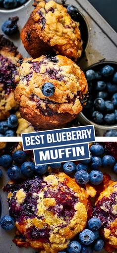The best blueberry muffin recipe you will ever make! These blueberry muffins are fluffy, moist and super easy to make. Streusel Muffins, Homemade Blueberry Muffins, Blueberry Cookies, Blueberry Oatmeal Muffins, Blueberry Jam, Muffin Recipes, Brunch Recipes, Baking Recipes, Breakfast Recipes