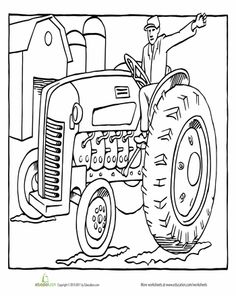 Worksheets: Tractor Coloring Page