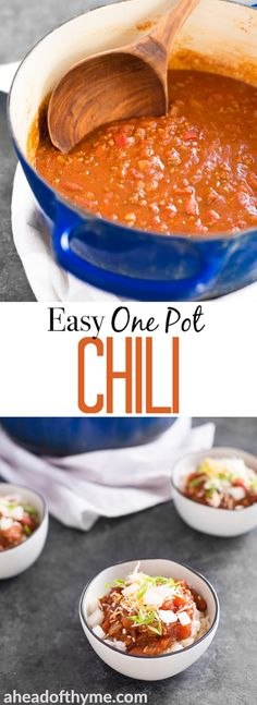 Hearty and full of flavour, easy one pot chili requires only 10 minutes of prep time making it the perfect busy weeknight meal!   aheadofthyme.com #chili #onepot #comfortfood #easy via @aheadofthyme