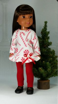 Fancy Holiday Christmas Outfit for Wellie Wishers, American Made to Fit 14 1/2 Inch Girl Dolls