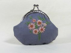 Hand embroidered cotton coin purse  pink flowered purse by JRsbags, €25.00